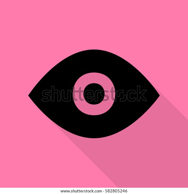 Eye sign illustration. Black icon with flat style shadow path on pink background.