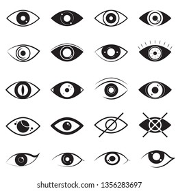 Eye Signs Black Thin Line Icon Set Different Types Include of Vision Elements. Vector illustration of Icons