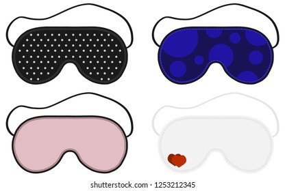 Eye sleep mask vector illustration. Sleep accessory object. Set of sleep Masks. Isolated Illustration Of Sleeping Mask Eyes.