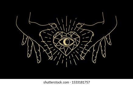 Eye of the stone heart with hand, Magic heart, hand and eye gold logo, spiritual guidance tarot reader design. decorative illustration tattoo
