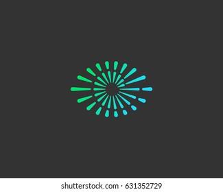 Eye swirl spiral infinity vector logo. Creative camera shutter vision logotype. Photo video control sign.