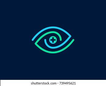 Eye swirl spiral line vector logo. Creative medical eye sign with cross. Linear symbol of vision correction. Creative Vector element
