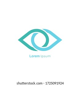 Eye symbol on a white background. Abstract vector logo design template.
