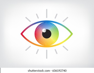 Eye symbol vector logo design. Colorful gradient spectrum circle in an iris with a black pupil. Digital vision icon with green, yellow, orange, red, magenta, blue, teal.