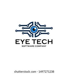 Eye tech logo design , eye symbol icon , software logo ,Vector illustration