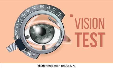 Eye Test Banner Vector. Vision Correction. Optometrist Check. Trail Frame. Exam Illustration