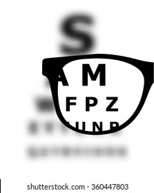 Eye test blurred with glasses vector