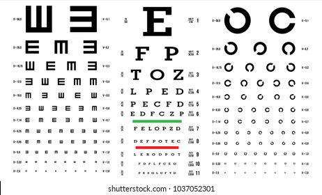 Eye Test Chart Vector. Vision Exam. Optometrist Eyesight Chart Check. Medical Eye Diagnostic. Different Types. Sight. Optical Glasses Examination. Isolated On white Illustration