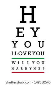 Eye test. I love you, will you marry me?