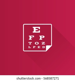 Eye test page icon in Metro user interface color style. Letters small tiny