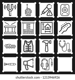 Eye test, stethoscope, hammer, blueprint, walkie talkie, armored vehicle, submarine torpedo icon set suitable for info graphics, websites and print media and interfaces