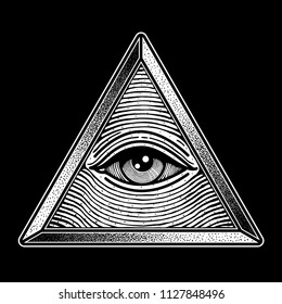 eye triangle one traditional tattoo, vector EPS 10