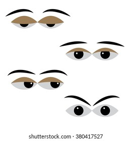 eye vector with different moods on a white background. different cartoon expression eyes. pleasant calm and relaxed eyes, angry and frustration eyes, worried and doubtful eyes, meditative eyes