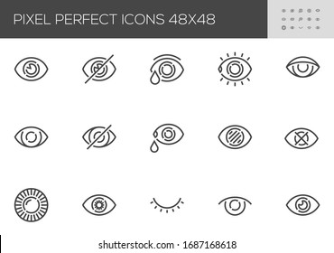 Eye Vector Line Icons. Vision, Eyesight, Visibility, Optometry. Editable Stroke. 48x48 Pixel Perfect.