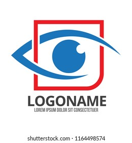 Eye vector logo design idea. Minimalist logo design layout for medical care. Optician creative symbol concept template. Eye icon. Ophthalmology flat lines icon design.