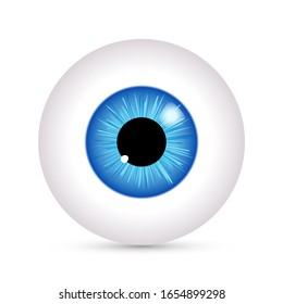 Eye vector look icon. Eyeball vision blue eyesight view symbol ball isolated icon illustration.