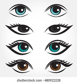 Eye vector set. Man, asian, caucasian and brunette woman eyes.