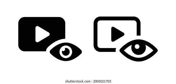 Eye with video player icon. Views, viewer, spectator icon set in black and white design.