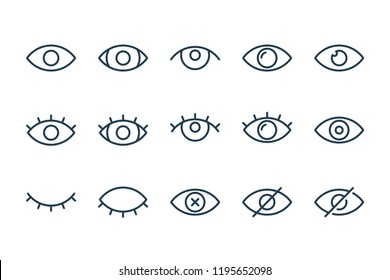 Eye and view line icons. vector linear icon set.