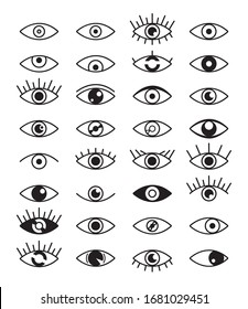 Eye vision black line art isolated set collection. Vector flat graphic design isolated illustration