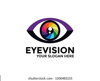 Eye vision Logo design vector template. Colorful media icon. Perfect for the photography, multimedia, and film
