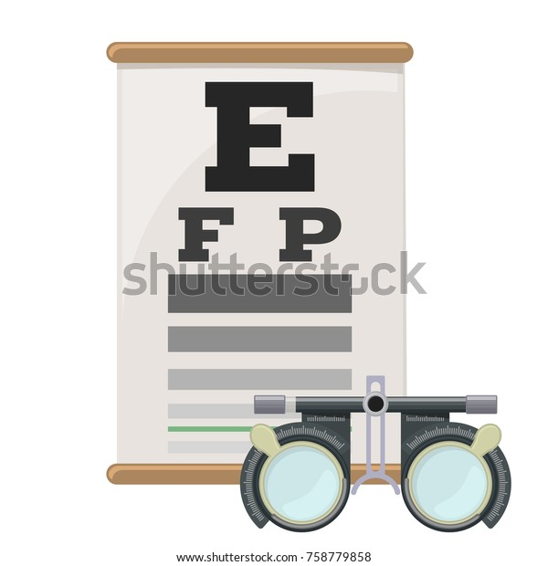 Eye vision test and trial lens frame, poor eyesight myopia diagnostic on Snellen eye test chart. Vision correction with glasses. Vector.