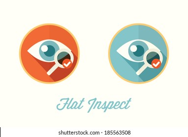 Eye, visual inspection, flat style