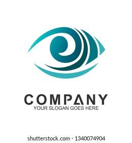 Eye + wave logo design concept. Vision icon. Eye care vector logo.