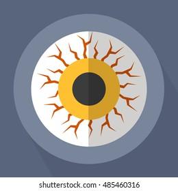 Eye Zombie Monster Flat Vector Illustration
