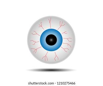 An eyeball cartoon isolated on white background.