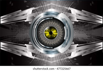 eyeball future technology, black silver cyber security concept background