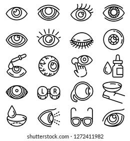 Eyeball icon set. Outline set of eyeball vector icons for web design isolated on white background
