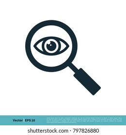 icon eye magnifying glass stock vector royalty free 382197451