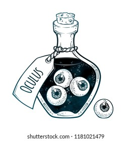 Eyeballs in glass bottle isolated. Sticker, patch, print or blackwork tattoo design hand drawn halloween art vector illustration. Latin inscription says EYE