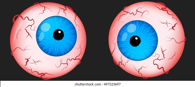 Eyeballs scary for halloween. Irritated eyes with venis. Vector illustration.