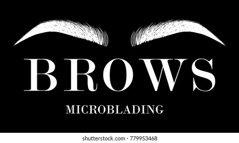 Eyebrow business card template. Beautiful hand drawing white eyebrows for the logo of the master on the eyebrows and microblading master. Business card template on a black background.
