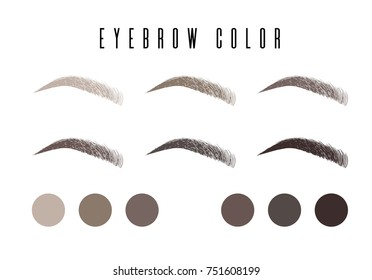 Eyebrow color set, banner makeup: black, brown, dark brown, light brown, gray, dark gray with makeup eyebrow
