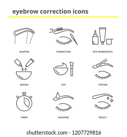 Eyebrow correction icons set