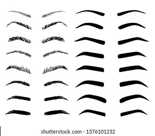 Eyebrow shapes illustration set. Various types of eyebrows.