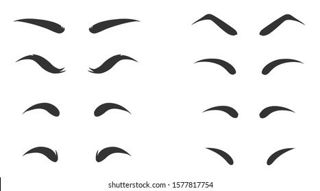 Eyebrow shapes. Various types of eyebrows. Makeup tips. Eyebrow shaping for women. Classic type and different thickness of brows.
