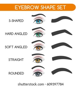 Eyebrow shaping for woman face makeup. Eyebrows shape set vector illustration