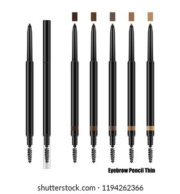 Eyebrow slim retractable pencil mockup. Set of brow pencils with blending brush in black plastic cases. Eyeliner 3d realistic vector template. 5 natural colors set.