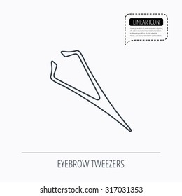 Eyebrow tweezers icon. Cosmetic equipment sign. Aesthetic beauty symbol. Linear outline icon. Speech bubble of dotted line. Vector