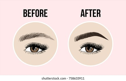 Eyebrows desing and eyelashes extension. Set of well-groomed and shaggy eyebrows. Before and after the care coloration. Beauty open eye with long eyelashes and skin. Vector illustration.