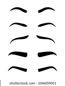 Eyebrows. Vector dark eyebrow model set of different shapes isolated on white background, thick ans arch, angle and thin eyebrows