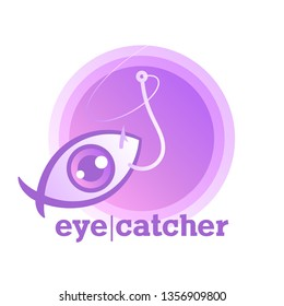 Eye-catcher. Vivid purple icon of clickbait. User's eye in the shape of fish. Metaphoric logo means a tricky online promo with a viral teasers, fake news. Symbol of virtual bait. Trendy vector sticker