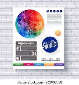 Eye-catching design for a Business Project presentation with text boxes, editable text, and categories with a bold vivid motif in the color of the rainbow, vector illustration
