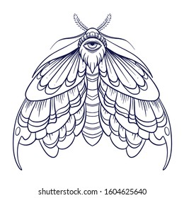 Eyed hawk-moth illustration, drawing, engraving, ink, line art, vector