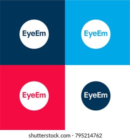 Eyeem logo four color material and minimal icon logo set in red and blue