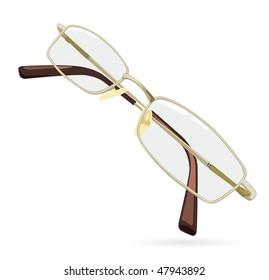 Eyeglass. Vector illustration isolated on white background.